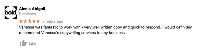 seo copywriting testimonial